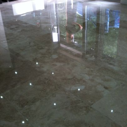 Polished Marble Floor Restoration After